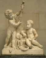 photo: Poetry and Music, marble sculpture by Claude Michel